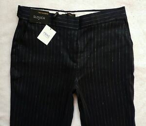 BNWT-NEXT-NEW-Ladies-navy-blue-stripe-wide-leg-linen-blend-tailored-trousers-R-L