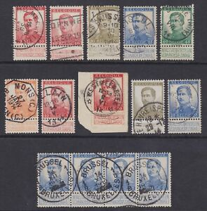 Belgium 1914 15 Lot Of 14 Used Stamps Cob 118 25 Very Fine Selected Postmarks Ebay