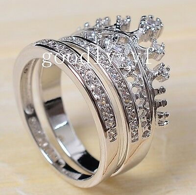 Size 5-10 925 Silver Filled 3A Zirconia CZ Crown Princess Women Wedding Ring Set
