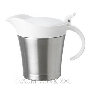IKEA-FETTLAGER-Sauciere-Milchkanne-Kanne-mit-Deckel-0-5l-Edelstahl-Sossenkanne