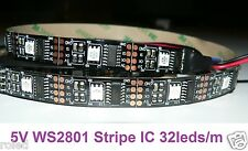 1m 5V WS2801 LED RGB Magic Stripe IC 32led/m Digital Meterware SMD 5050 Arduino