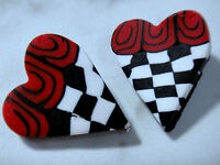 Fimo Heart Buttons Red White Black Check Lot Of Two (2) 1