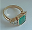 2-45Ct-Emerald-Cut-Green-Emerald-Antique-Vintage-Ring-14K-Yellow-Gold-Over thumbnail 3