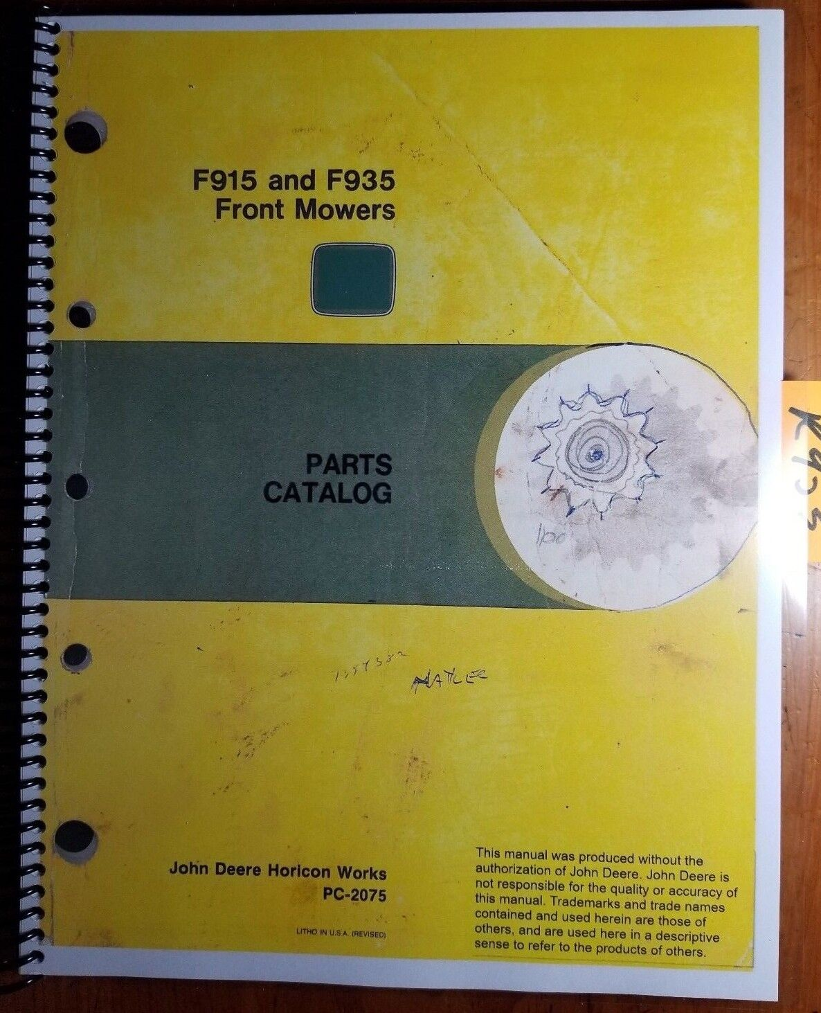 John Deere F 915 935 Front Mount Mowers Parts Catalog Pc 2075 Ebay F935 Wiring Diagram Schematic Norton Secured Powered By Verisign
