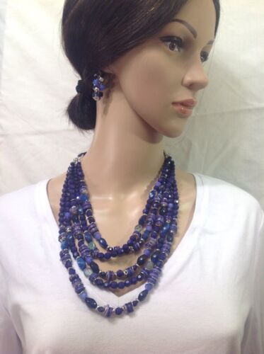 CHICO/'S NEW blue Beaded necklace Set Includes Earrings
