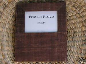 NIB-Fitz-amp-Floyd-5-x-3-5-In-Brushed-Rustic-Dark-Mahogany-Wooden-Photo-Frame
