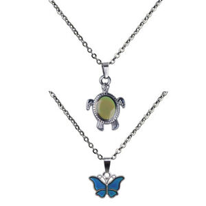 2pcs-Animal-Shape-Deisgn-Butterfly-Turtle-Themed-Color-Change-Mood-Necklace