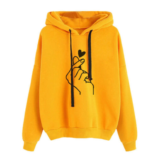 Women/'s T-shirt Solid Color Long-Sleeved Hooded Pullover Hooded T-Shirt New LO