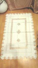 ancienne nappe chemin de table  epoque 1900 broderie ajourée coton blanc