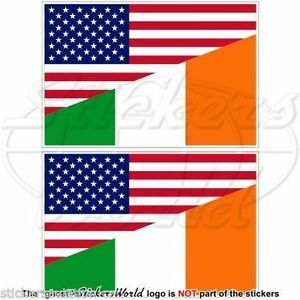 USA-United-States-America-amp-IRELAND-American-Irish-Flag-Stickers-3-034-75mm-x2