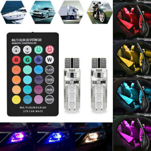 2X-LED-T10-Remote-Control-W5W-501-RGB-Color-Changing-Car-Wedge-Side-Light-Bulbs