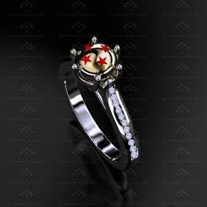 Dragon Ball Z 016ct Natural White Diamond Sterling Silver Ring