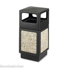 Trash Can Waste Receptacle 38 GAL Commercial Side Open Outdoor Use Stone Plastic
