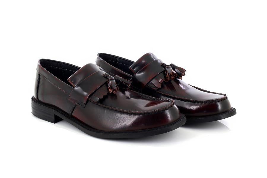 Roamers Skinhead Polished Leather Tassle Loafers Oxblood Hi-Shine Leather