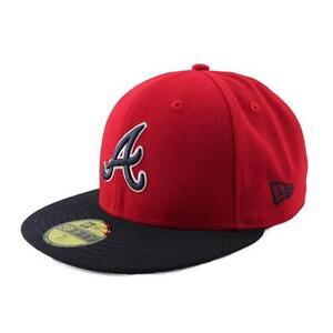 New-Era-Atlanta-MLB-Reverse-TEAM-Gorra-Ajustada-unisex-color-rojo-Azul-Marino