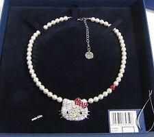 Swarovski Hello Kitty Polka Dots Necklace White Crystal Pearl Cats MIB - 1175750