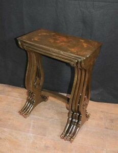 Chinese lacquer nest tables french chinoiserie table ebay image is loading chinese lacquer nest tables french chinoiserie table watchthetrailerfo
