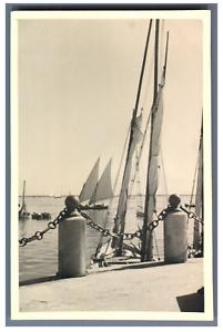 Egypte-Port-Said-Vue-du-Port-Vintage-silver-print-Tirage-argent