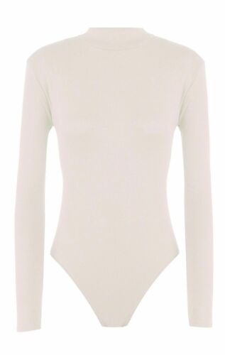 New Women/'s Ladies Long Sleeve Turtle Polo Roll Neck Bodysuit Top Sizes 8-26