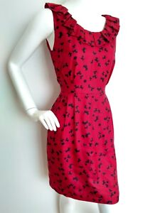 By used Red Ruffle Dress Print Silk Detail Hobbs Once 12 Dog Nw3 Size Pockets q8dwRCR7