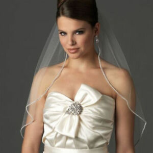 white-ivory-Wedding-Bridal-Veil-With-Comb-Elbow-Length-Rhinestone-Edge-Tulle