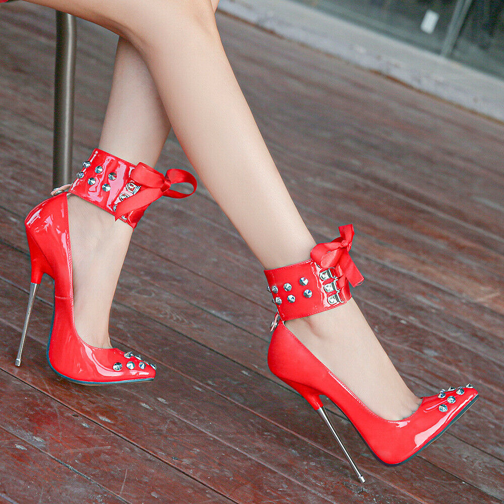 Red Sexy Women's Metal Decora Pumps Ankle Strap High Heels Party Nightclub Shoes