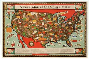 Food map of the united states fish fruit etc maine to california image is loading food map of the united states fish fruit sciox Gallery