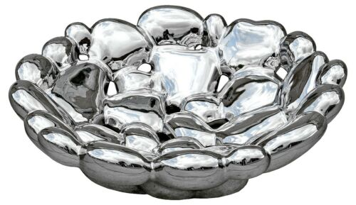 Platinum Fired CHROME BUBBLE BOWL Ideal for Displaying on a Dining Table