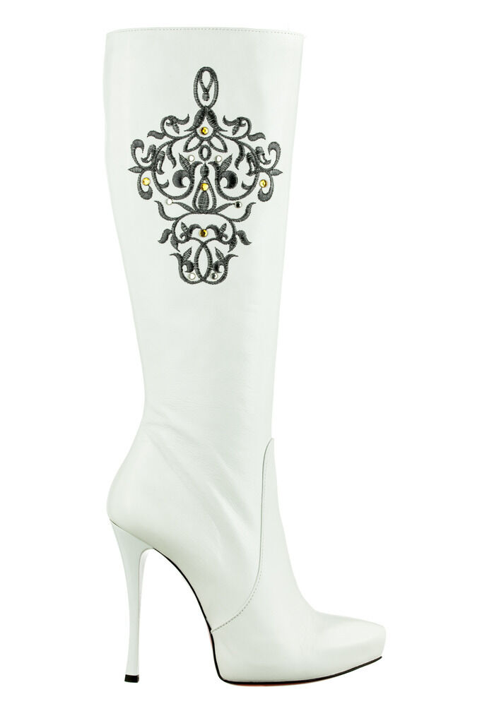 MORI ITALY PLATFORM KNEE HIGH BOOT STIEFEL STIVALI PELLE SILVER WHITE BIANCO 40