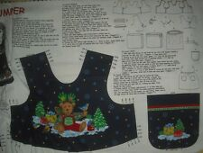 Cranston (VIP)Christmas Teddy Bear Girl's Jumper top or vest Panel QUILT FABRIC