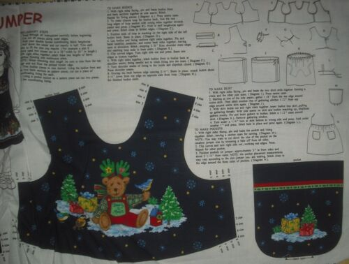 Christmas Teddy Bear Girl/'s Jumper top or vest Panel QUILT FABRIC Cranston VIP
