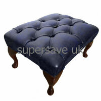 Traditional Chesterfield 100% Genuine Leather Queen Anne Footstool Antique Blue