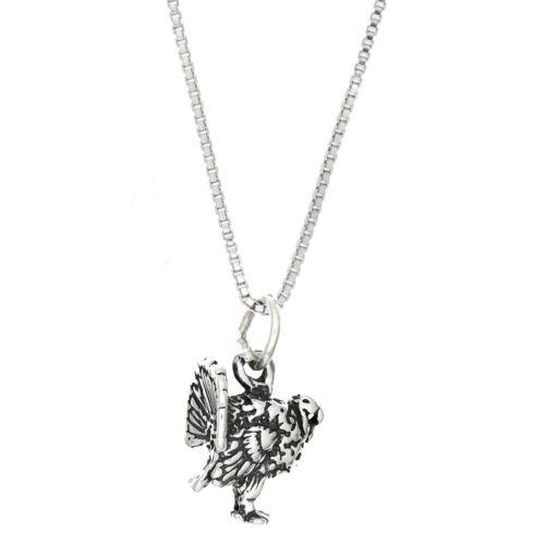 Sterling Silver Wild Turkey charme avec Boîte Chaîne Collier