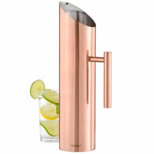 VonShef 1.5 Liter Large Stainless Steel Copper Finish Water Pitcher Jug Drinks