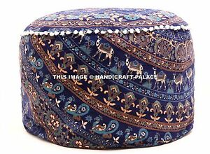 Indian-Elephant-Mandala-Floor-Pillow-Case-Pouffe-Foot-stool-Round-Cover-Ottoman