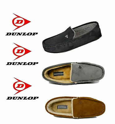 Dunlop Mens Famous Lewis Moccasin Slippers with Faux Sheepskin Lining