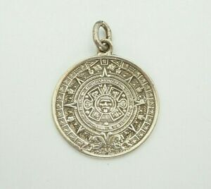 Vintage-Mexico-Sterling-Silver-925-Aztec-Mayan-Circle-Medallion-Pendant