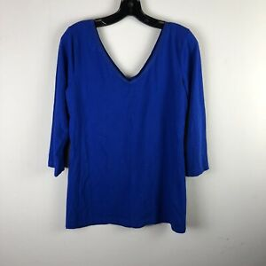 Banana-Republic-Womens-Top-Size-Large-Royal-Blue-V-Neck-Solid-Q