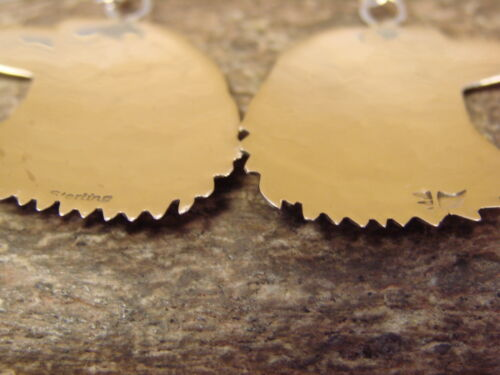 Native American Sterling Silver Hand Stamped Eagle Earrings by Gene