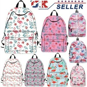 Image is loading UK-Womens-Flamingo-Backpack-Kid-Rucksack-Girls-Animal- 9c1ee14b64