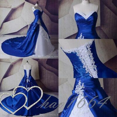 Royal Blue A Line Wedding Dresses Lace Taffeta Appliques Bridal