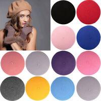 Hot Selling Warm Joker Wool Women Felt French Beret Beanie Hat Cap Tam 10Colors