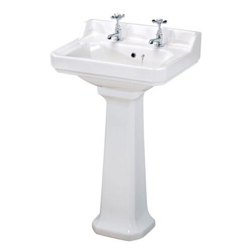 Carlton 600mm Traditional Bathroom Ceramic Square Basin Sink Pedestal 2 Tap Hole