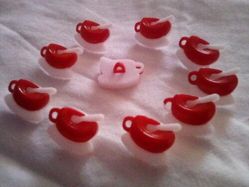 15 mm x 20 mm Jaune Rose 5 Tasse boutons avec Cuillère-Rouge