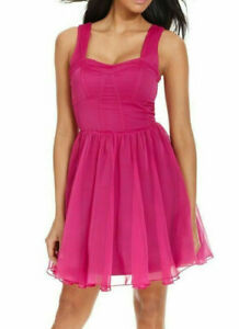 GUESS-Raspberry-Pink-Chiffon-Corset-Fit-amp-Flare-Party-Dress-8-NEW-138