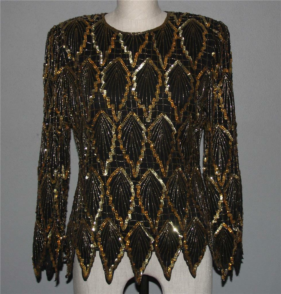 Laurence Kazar Gold Beads Sequins Scalloped Points L S Lined oben Wms M EXC