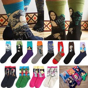 Unisex Flag Socks Starry Night Art Oil Painting Style Cotton Warm Socks Van Gogh Women's Clothing