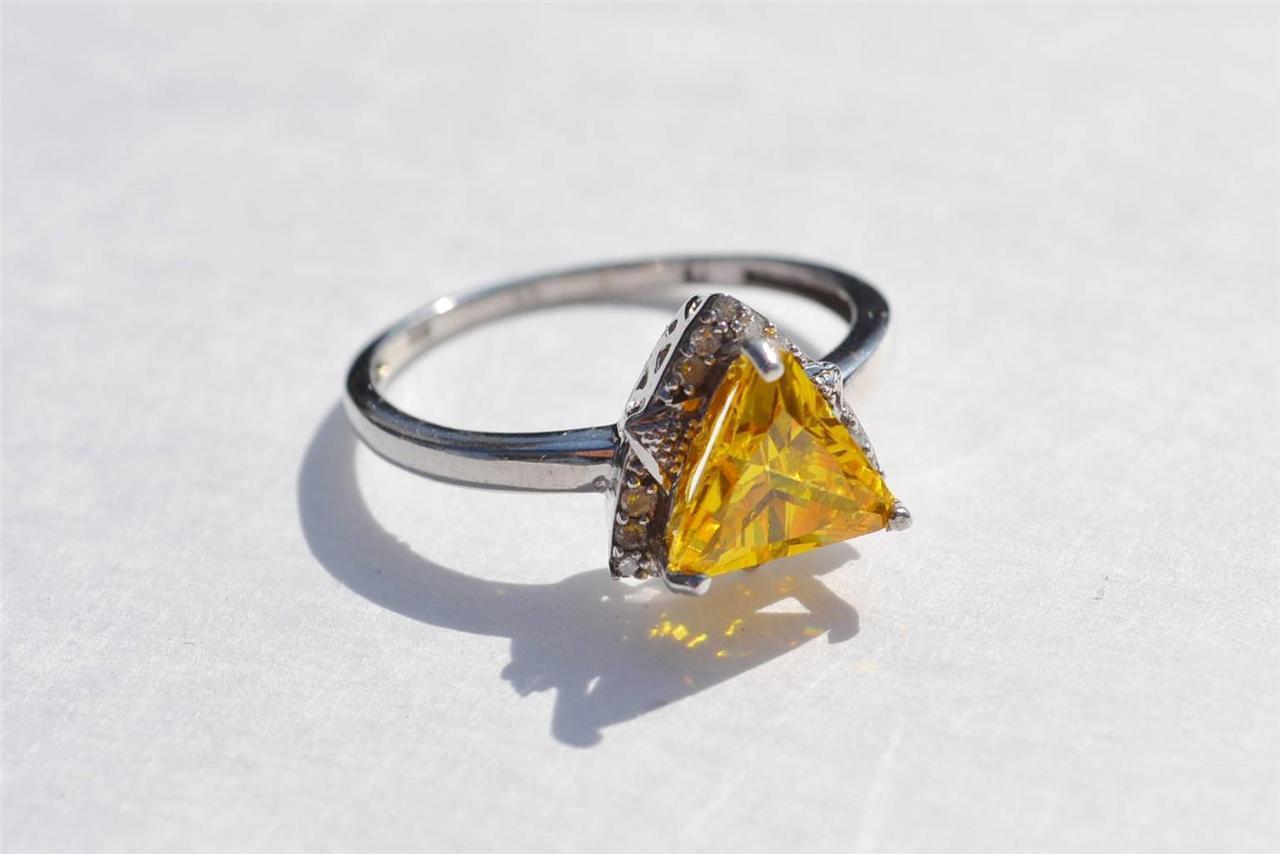 Nuovo argentoo Sterling Citrino & Diamante di Contorno Contorno Contorno Trillan Misura Anello 9.5 02dde1