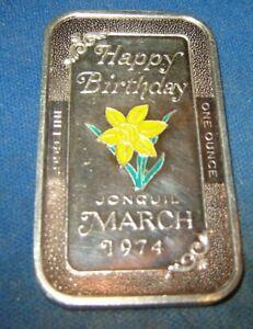1974-HAPPY-BIRTHDAY-ENAMLED-Jonquil-BAR-1-OUNCE-999-FINE-SILVER-bar