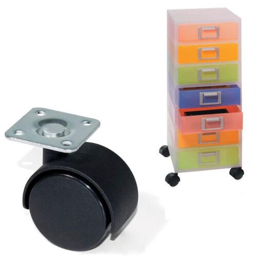 4 Ruote Per Mobili Supporto Carrelli Con Staffa Girevole Plastica Nera Casa 831